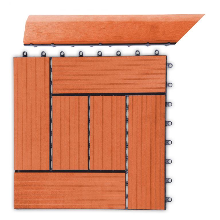 Přechodová lišta třešeň pro WPC rohová (levá) - 385 x 75 mm