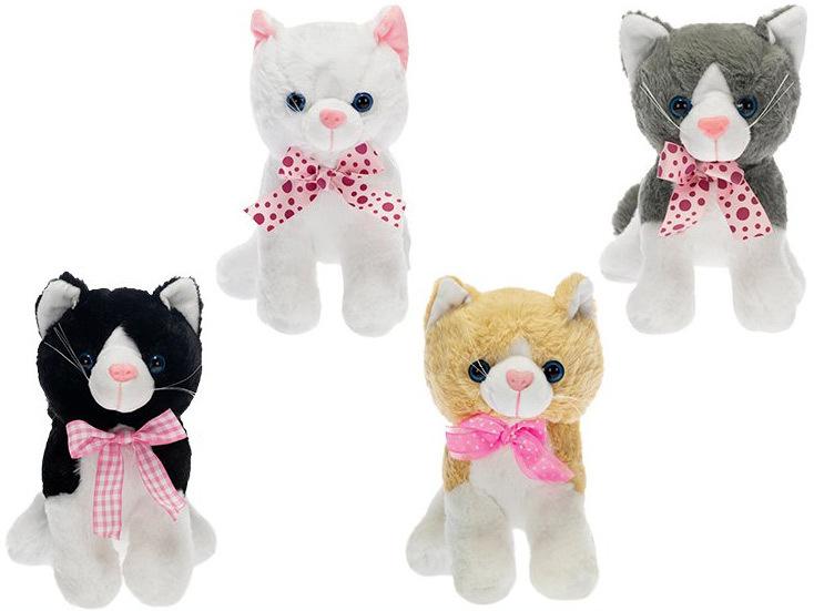 PLYŠ Kočka s mašlí sedící 25 cm - 4 barvy