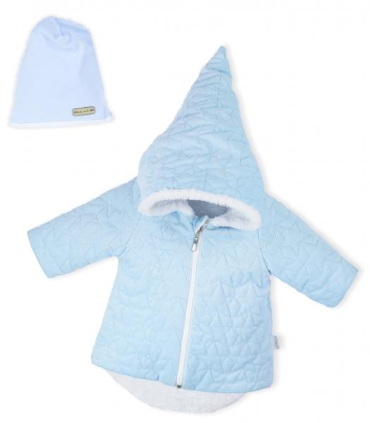 Luxusní prošívaná bundička, kabátek s čepičkou Nicol Velvet Skřítek - sv. modrá, vel. 68 - 68 (4-6m)