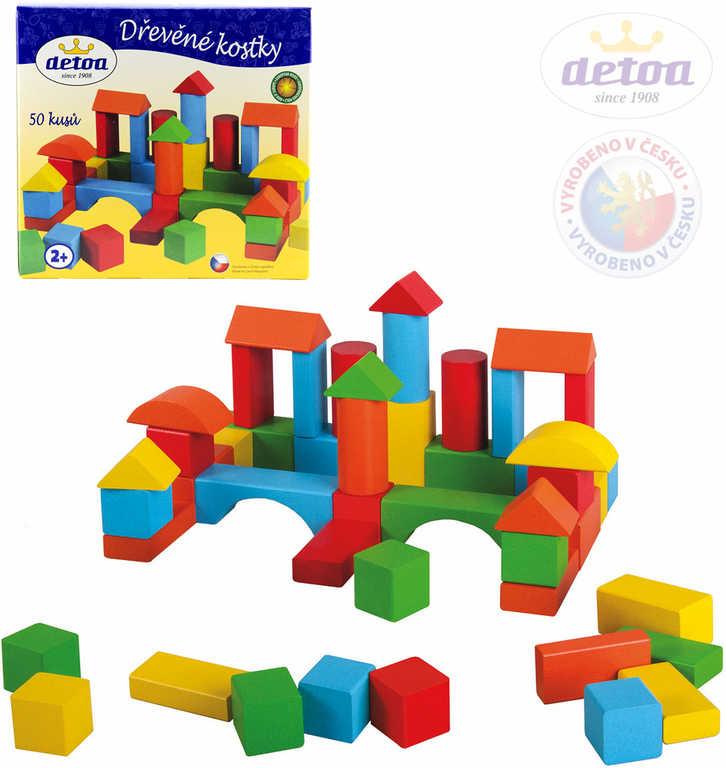 DETOA DŘEVO Kostky barevné set 50 ks stavebnice v krabici