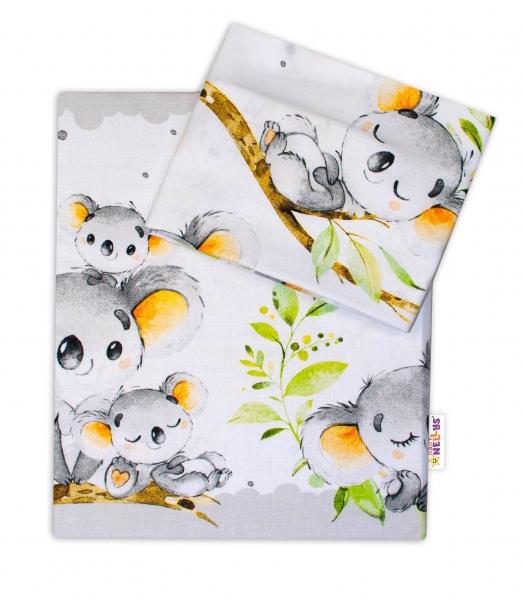 2-dílné bavlněné povlečení Baby Nellys - Medvídek Koala - šedý - 120x90