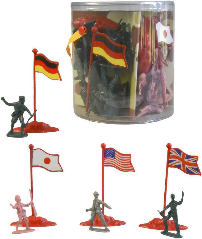 Vojáci army set plastové figurky vojenské 5cm se zbraněmi s doplňky v tubě