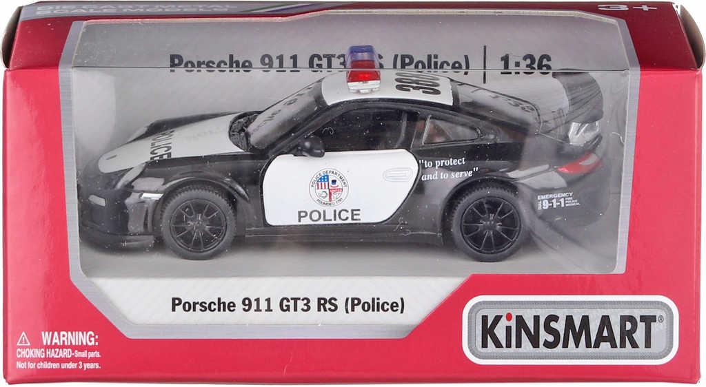 KINSMART Auto model 1:36 PORSCHE 911 GT3 RS Policie kov PB 12cm