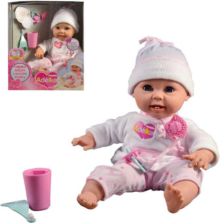 Panenka Adélka 40cm první zoubky set miminko na baterie s doplňky Zvuk