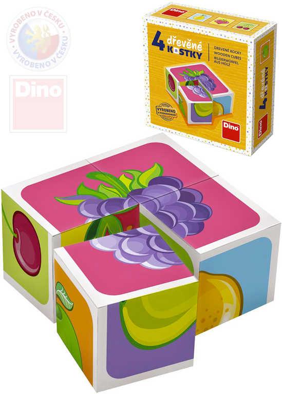 DINO DŘEVO Baby kubus set 4ks Ovoce obrázkové kostky pro miminko