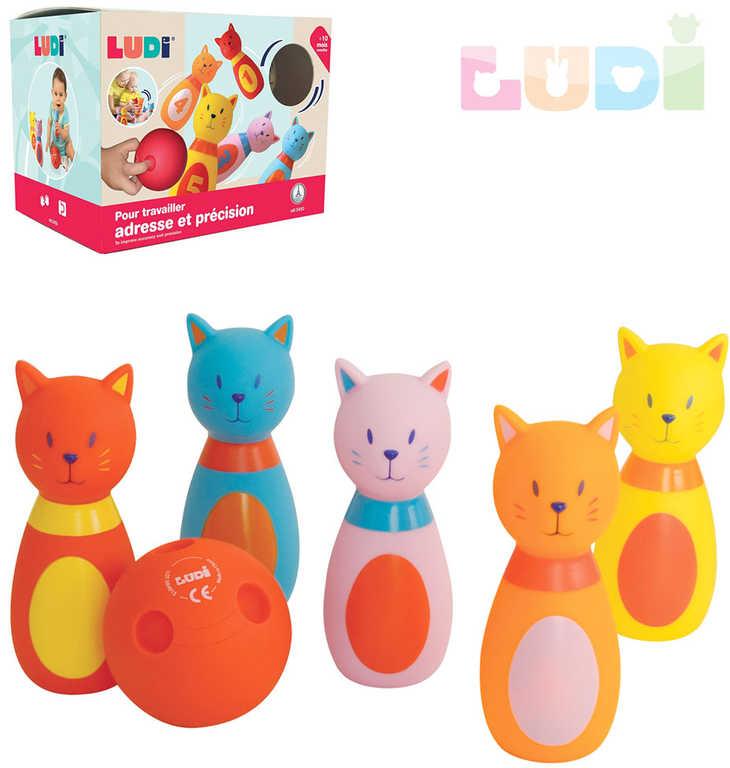 LUDI Hra baby bowling kočičky set 5 soft kuželek s koulí plast pro miminko