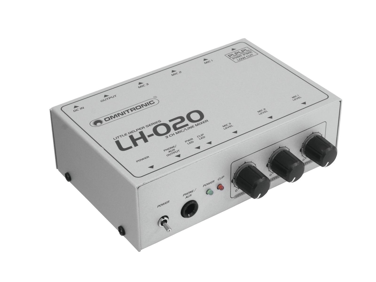 Omnitronic LH-020, mini mixážní pult 3-kanálový