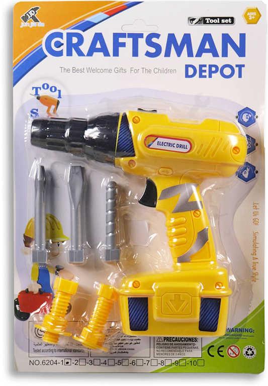 Dětské pracovní nářadí set aku vrtačka 18cm na baterie s nástavci a doplňky plast