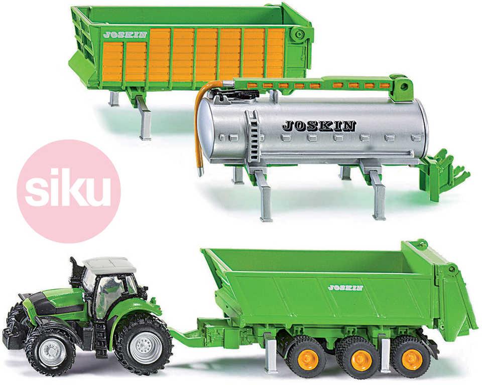 SIKU Traktor farmářský Agrotron X720 Deutz set se 3 přívěsy 1:87 kovový model 18