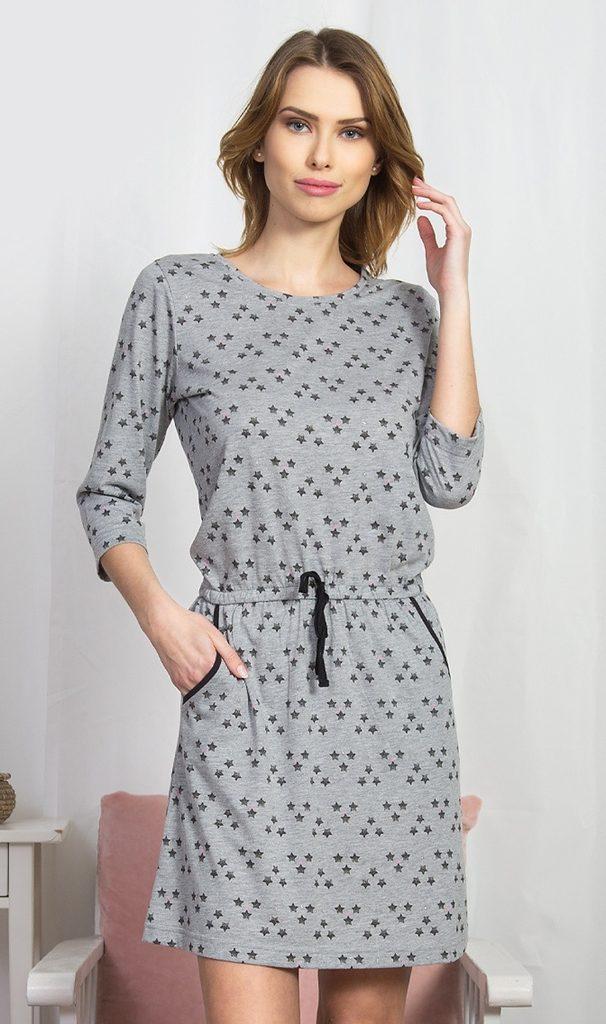 Dámské domácí šaty s tříčtvrtečním rukávem Linda - šedá