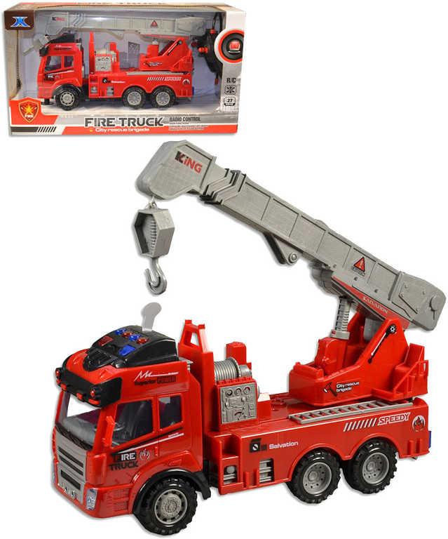 RC Auto jeřáb 27cm hasiči na dálkové ovládání na baterie Světlo Zvuk