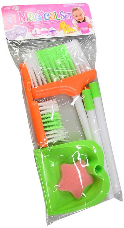 Souprava úklidová malá uklízečka set 2 smetáky s lopatkou a houbičkou plast