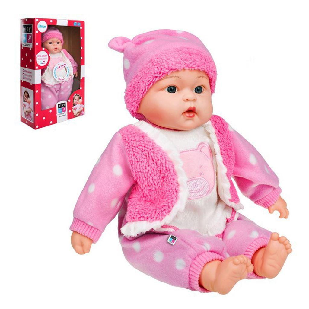 Slovensky mluvící a zpívající dětská panenka PlayTo - Marika 46 cm - růžová