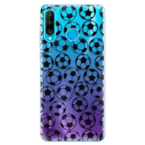 Odolné silikonové pouzdro iSaprio - Football pattern - black - Huawei P30 Lite