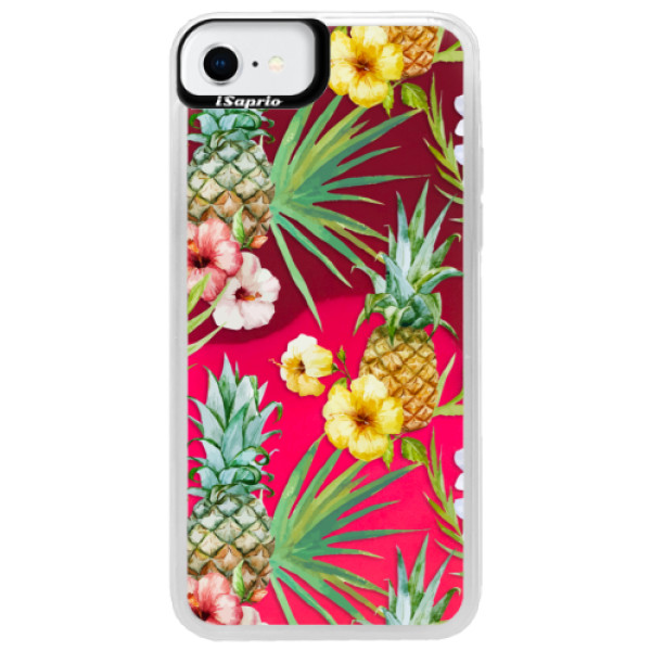 Neonové pouzdro Pink iSaprio - Pineapple Pattern 02 - iPhone SE 2020