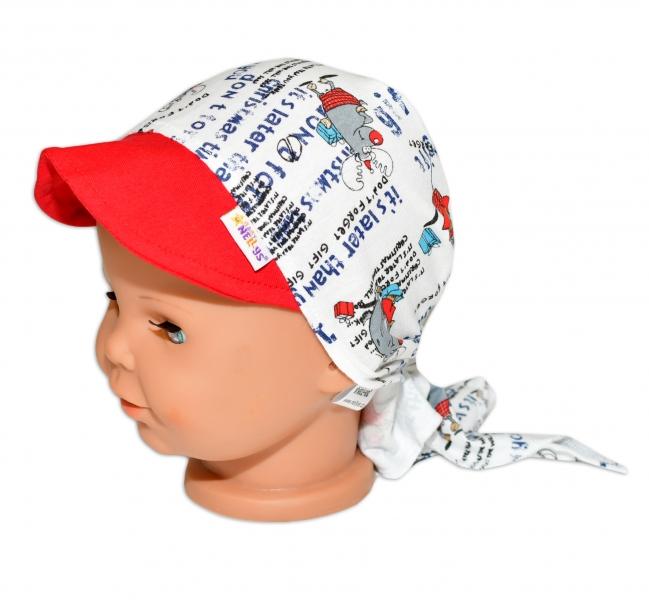 Baby Nellys Šátek na zavazování s kšiltem - Sobík, vel.