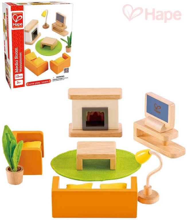 HAPE DŘEVO Obývák herní set nábytek s doplňky 12 dílků *DŘEVĚNÉ HRAČKY*