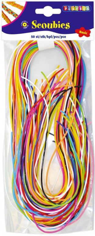 Provázky barevné zaplétací 80cm bužírky set 50ks v sáčku