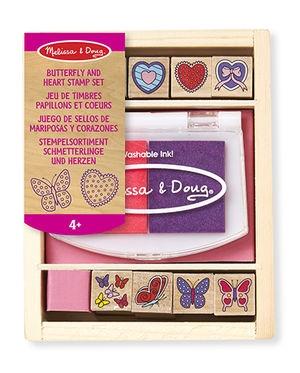 Melissa&Doug Dřevěná razítka v krabici - Motýlci a srdíčka