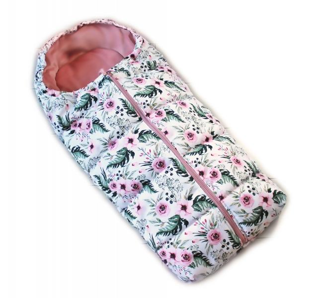 detsky-fusak-baby-nellys-artic-lux-velvet-95-x-45-cm-kvetinky-ruzovy