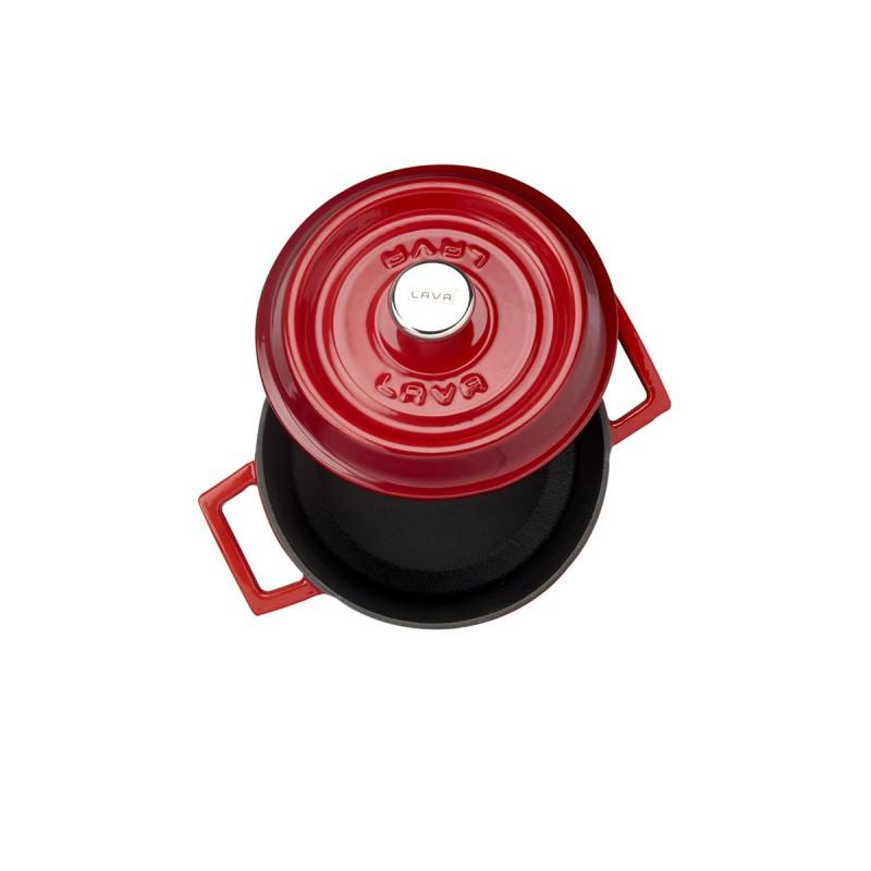 Litinový hrnec kulatý 18cm - červený