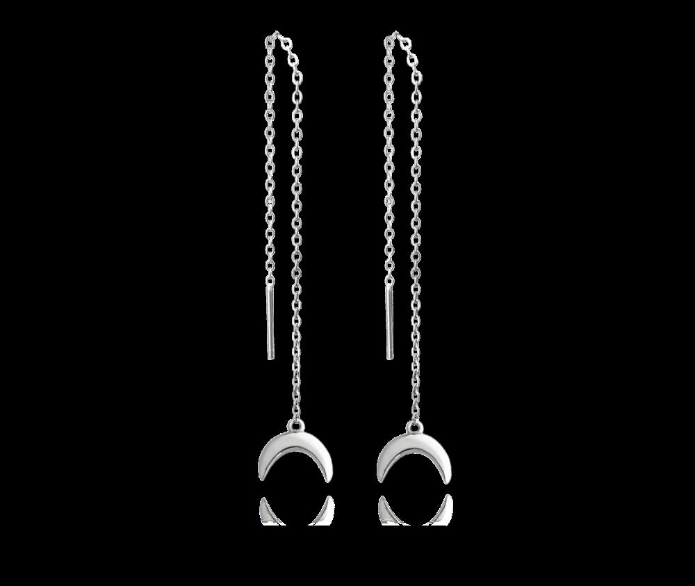 Stříbrné visací náušnice s měsícem