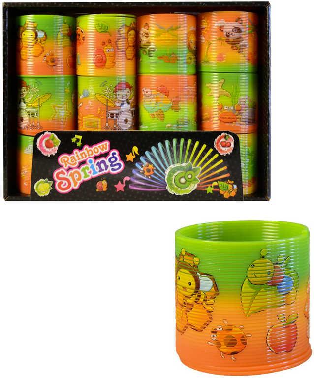 Spirála magická s obrázkem 7cm zvířátka oranžovo-zelená plast různé druhy