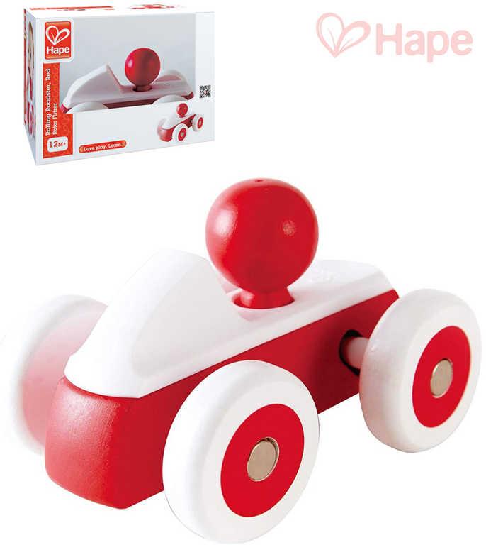HAPE DŘEVO Baby roadster mini červené autíčko s řidičem pro miminko