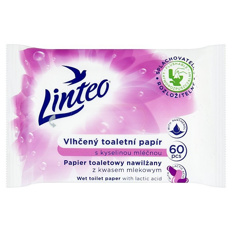 Vlhčený toaletní papír s kyselinou mléčnou 60ks