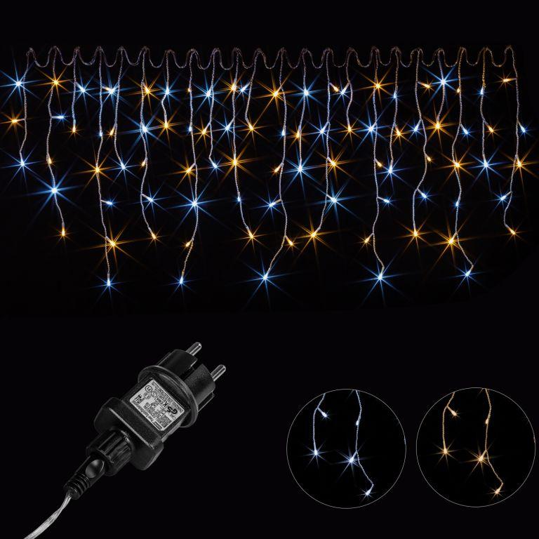 Vánoční světelný déšť - 5 m, 200 LED, teple / studeně bílý