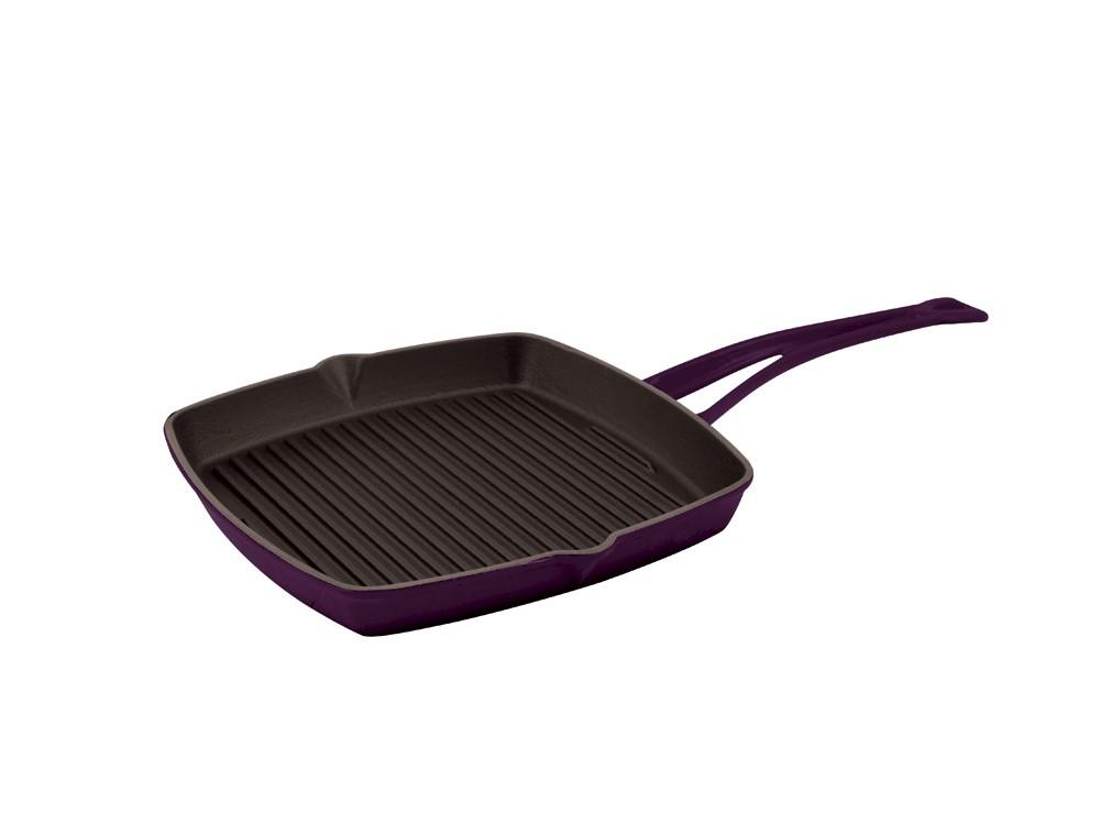 Litinová grilovací pánev 26x26 cm - světle fialová