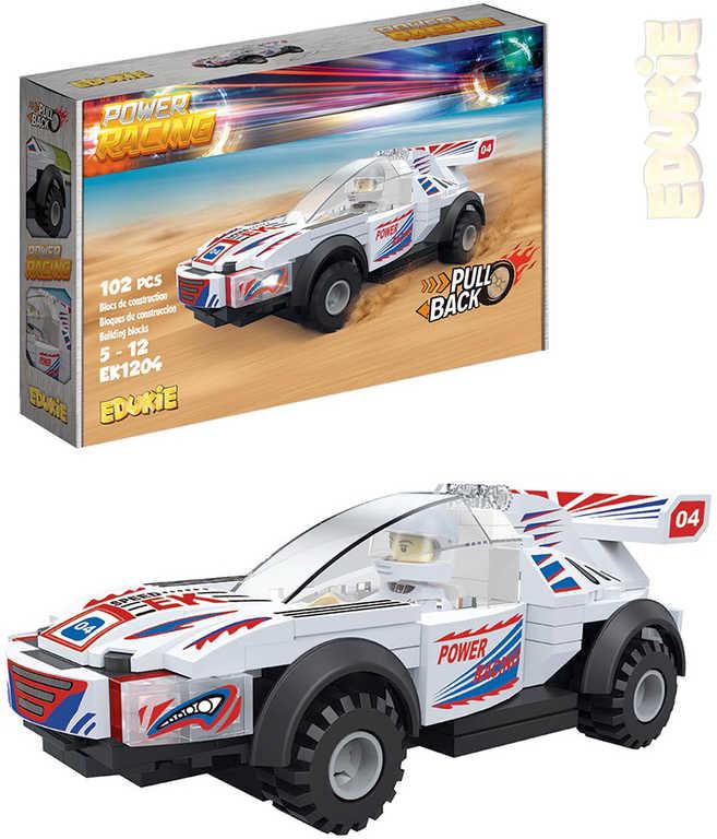 EDUKIE Auto závodní bílé zpětný chod set 102 dílků + 1 figurka STAVEBNICE
