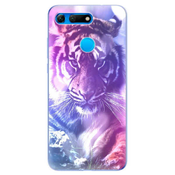 Odolné silikonové pouzdro iSaprio - Purple Tiger - Huawei Honor View 20