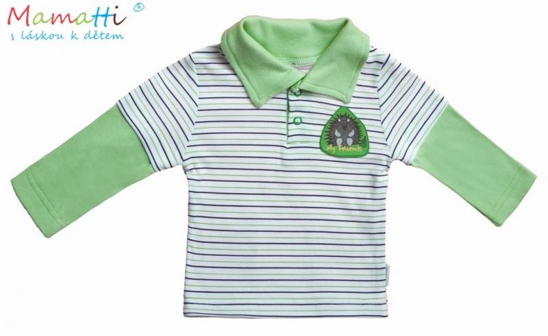 Polo tričko dl.rukáv Ježek - zelený proužek - 68 (4-6m)
