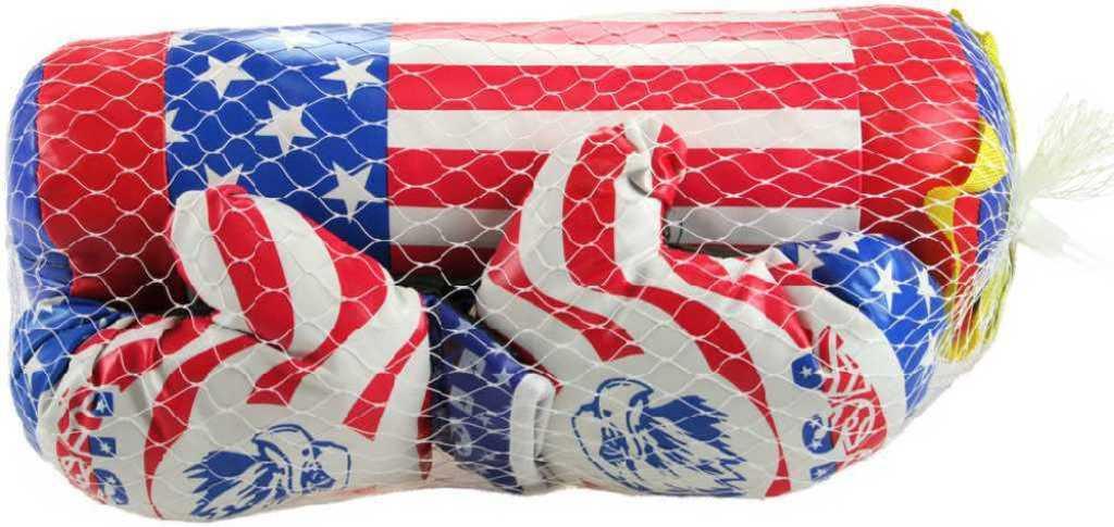 Boxovací set rukavice + pytel 40cm americká vlajka v síťce