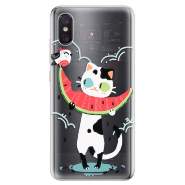 Odolné silikonové pouzdro iSaprio - Cat with melon - Xiaomi Mi 8 Pro