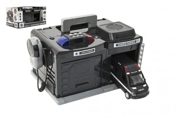 Garáž policie/swat + auto 15 cm na baterie se světlem se zvukem v krabici 37x20x24,5