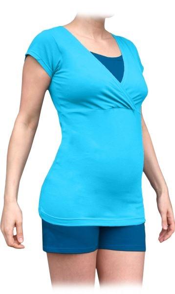 Těhotenské, kojící pyžamo, krátké - tyrkys + tm.modrý