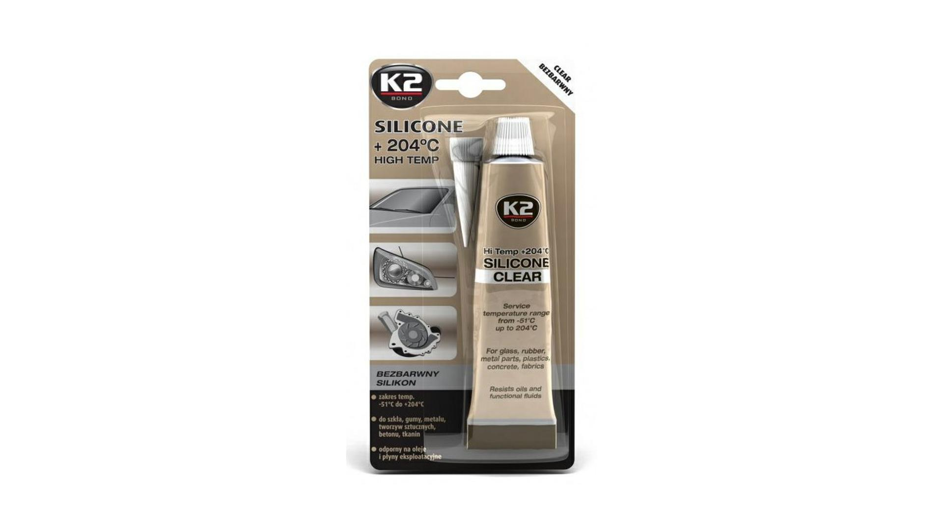 K2 SILICONE CLEAR 85g - vysokoteplotní čirý silikon