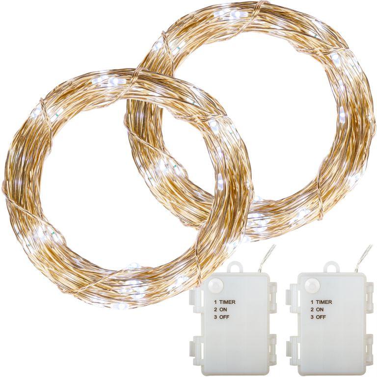 Sada 2 kusů světelných drátů - 50 LED, studená bílá