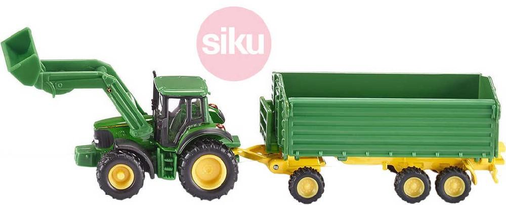 SIKU Farmer traktor John Deere 1:87 s čelním nakladačem a přívěsem model 1843