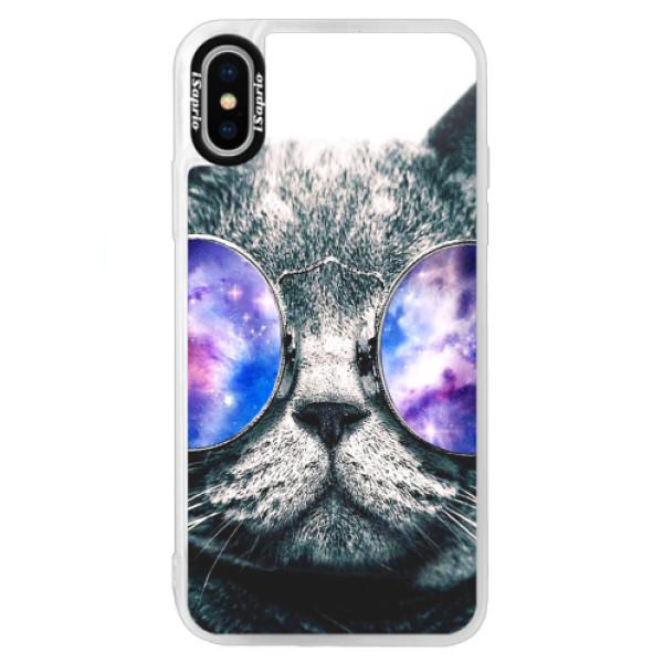 Neonové pouzdro Blue iSaprio - Galaxy Cat - iPhone XS