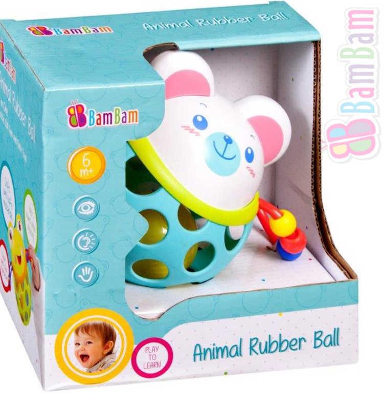 ET BAM BAM Baby Koule gumová myška s chrastítkem pro miminko