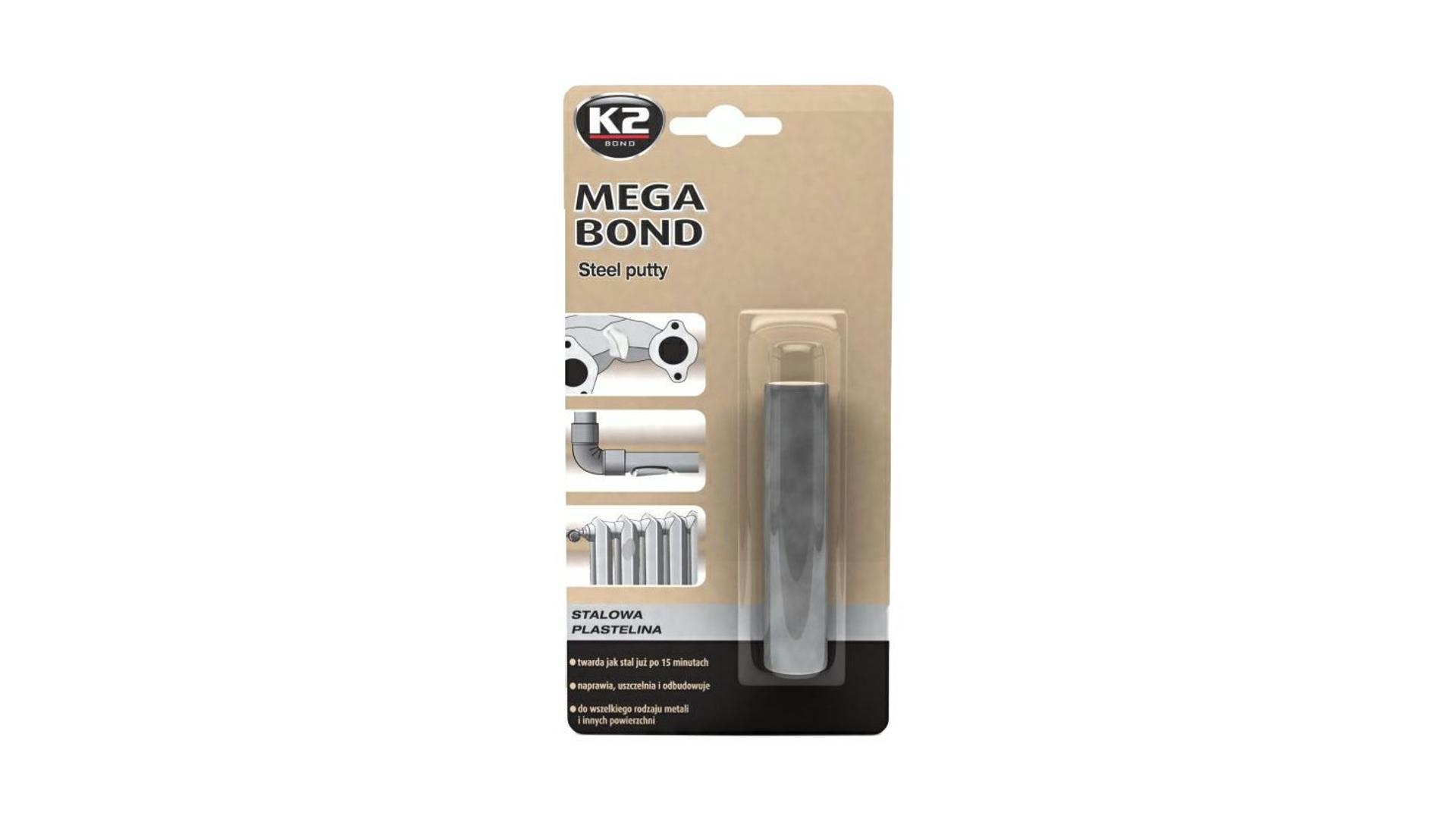 K2 MEGA BOND 60 g - ocelová plastelína na opravu a obnovu dílů