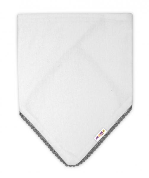 Dětský bavlněný šátek na krk s mini bambulkami Baby Nellys - bílý/šedý lem