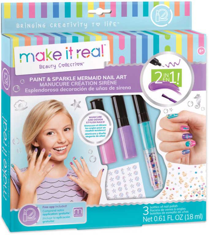 MAKE IT REAL Lak na nehty se zdobením set s glitry a obtisky