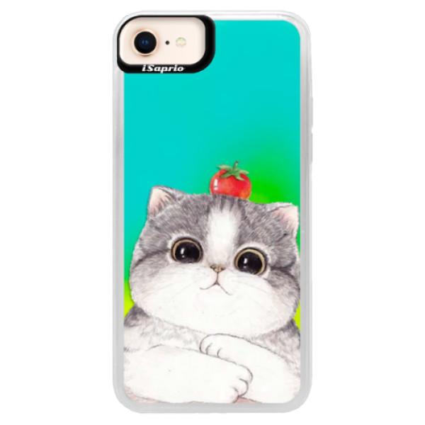 Neonové pouzdro Blue iSaprio - Cat 03 - iPhone 8