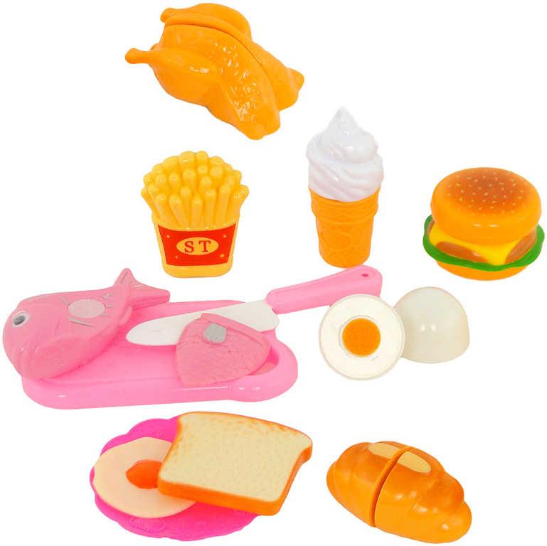 Sada krájecí potraviny na suchý zip fast food set s nožíkem a prknem plast