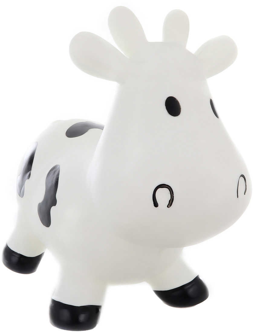 Baby hopsadlo kravička 54x24x42cm dětské skákadlo set s pumpičkou v krabici