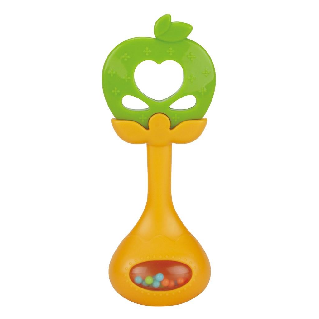 Silikonové kousátko s chrastítkem BAYO jablíčko - zelená